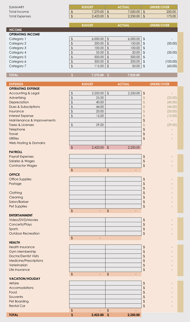 Personal Daily Expense Sheet Excel