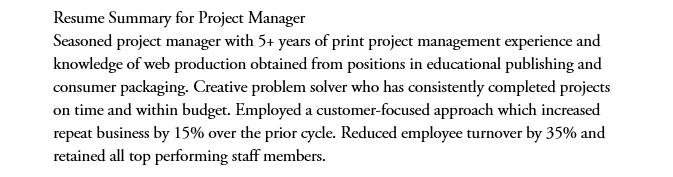 Project Manage Resume Summary