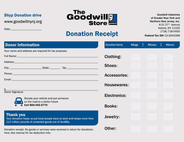 receipt for donation of goods