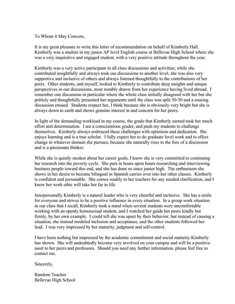 Letter Of Recommendation For Students From Teacher from www.wordtemplatesonline.net