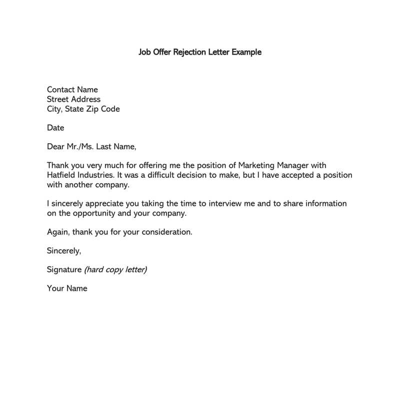 reject a job offer politely email sample
