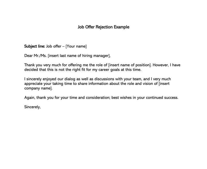 Formal Rejection Letter To Decline Job Offer (Sample Letters & Emails