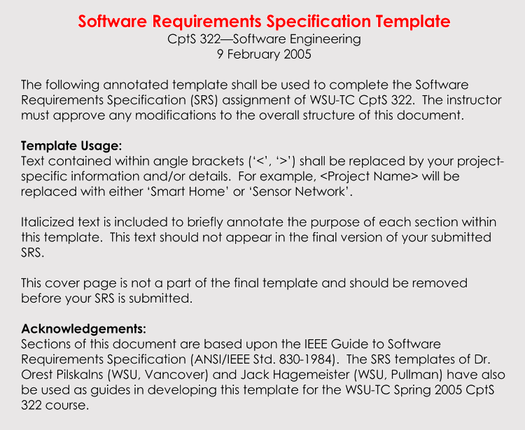 Requirements Analysis Examples For Business Software Customer Etc - Software analysis document template