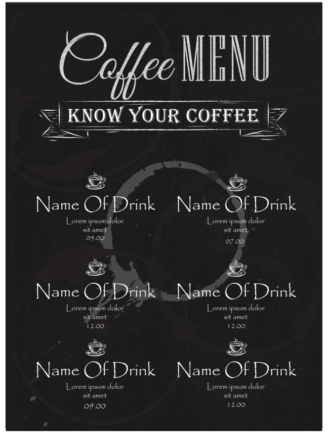 Restaurant Menu Word Template :  Cafe Menu Template Word