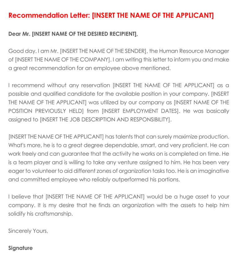 sample recommendation letter for employee