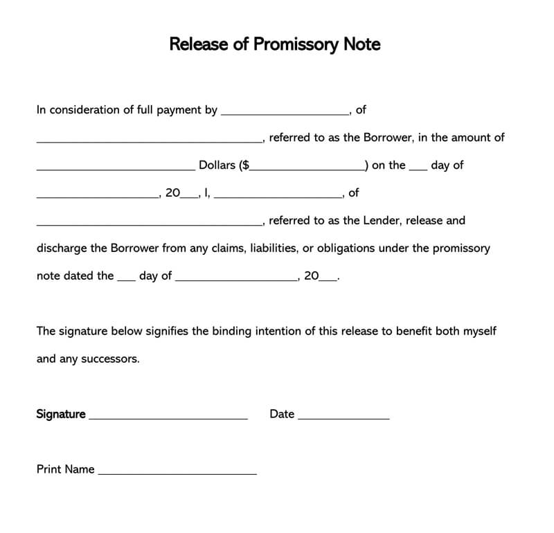 satisfaction and release form