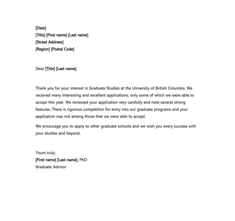 scholarship rejection letter template