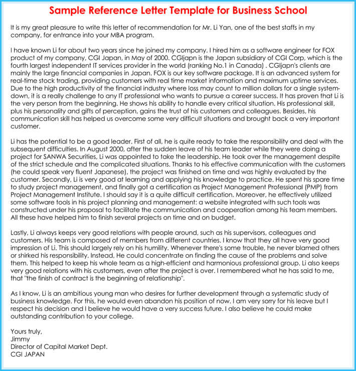 free download school reference letter