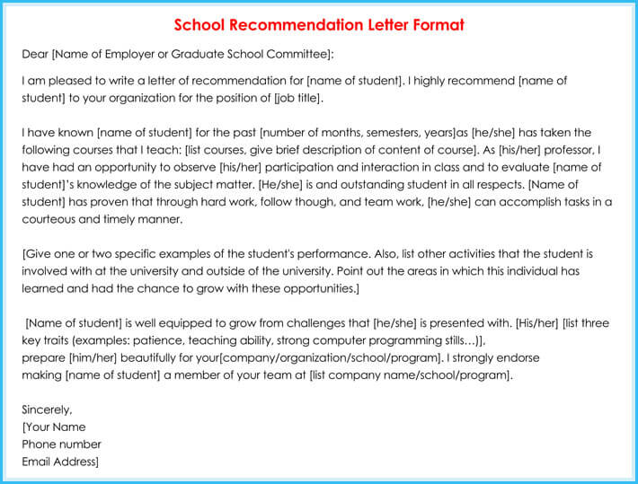 Academic  School Reference Letter Samples  Write Best Reference