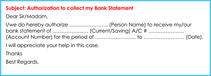 Authorization letter for bank how to write it 6 free samples authorization letter for collect bank statement spiritdancerdesigns Image collections