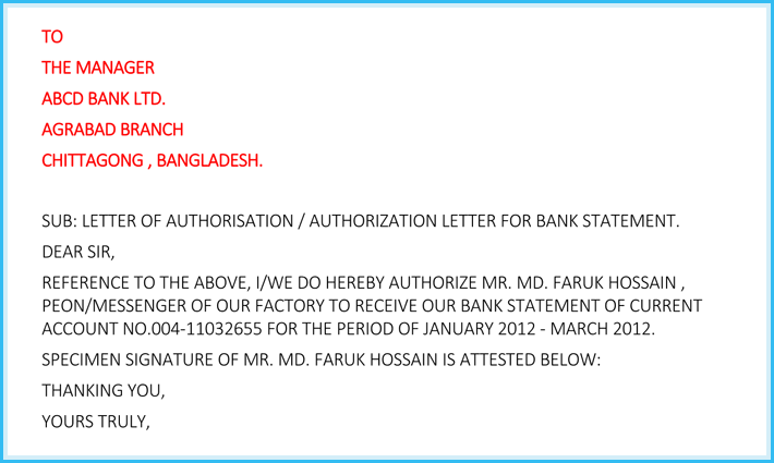 Authorization letter for bank how to write it 6 free samples authorization letter for bank statement format spiritdancerdesigns Images