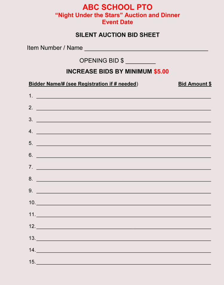 photograph about Printable Silent Auction Bid Sheets titled Bid Sheet Templates for Tranquil Auction (within just Phrase, Excel, PDF