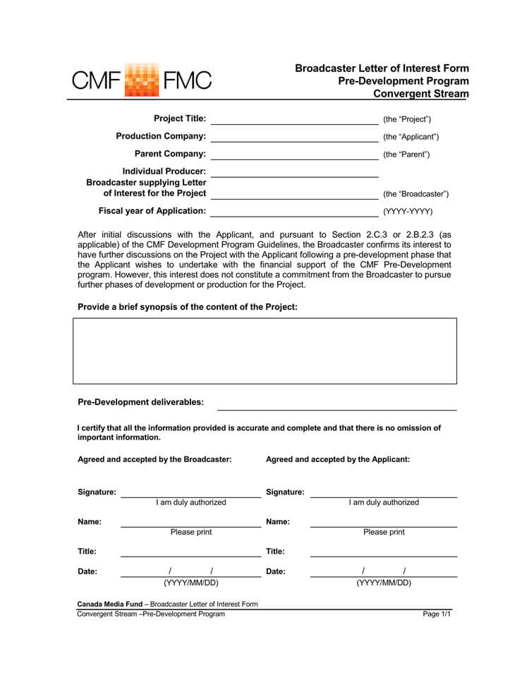 statement of interest sample letter