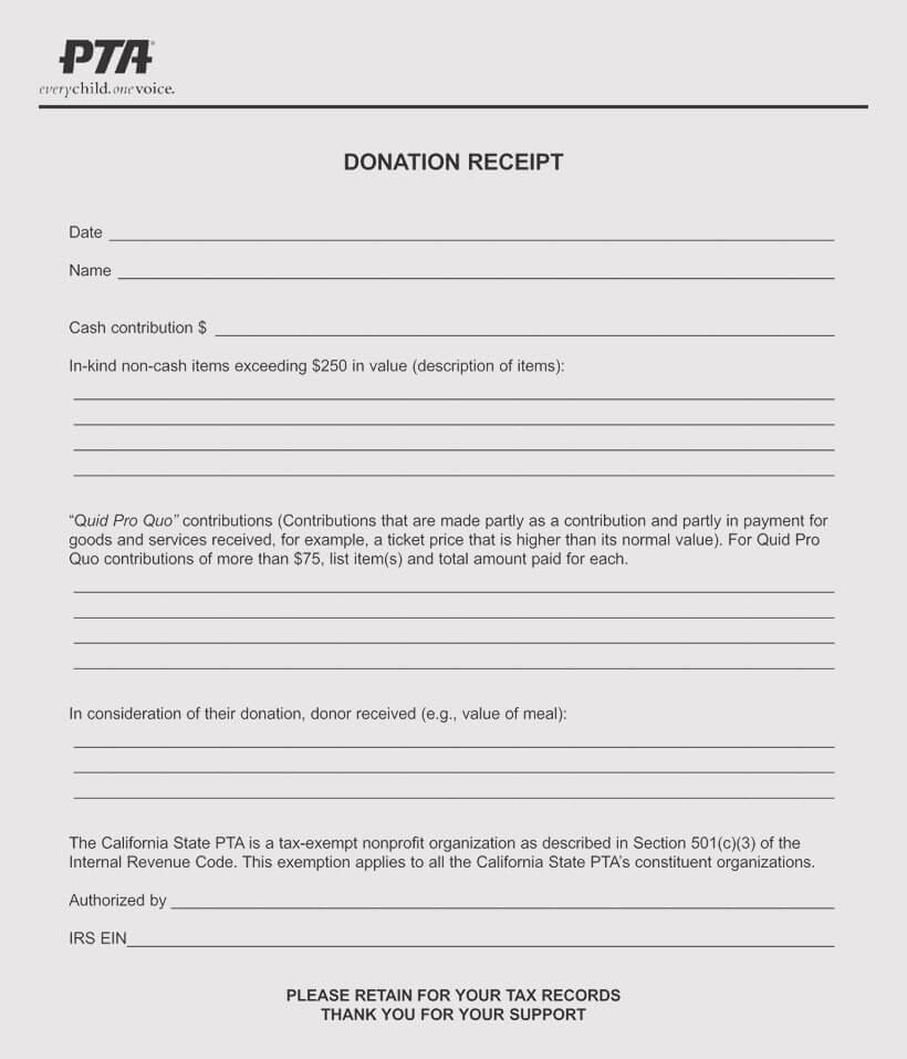 Tax donation Receipt requirnmnets