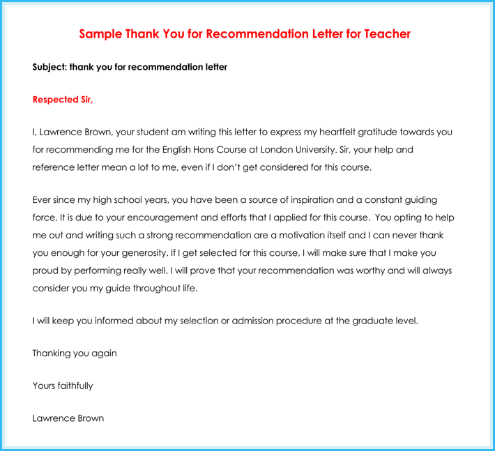 Thank You Letter For Teacher From Student Sample