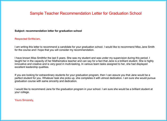 sample of teacher recommendation letter