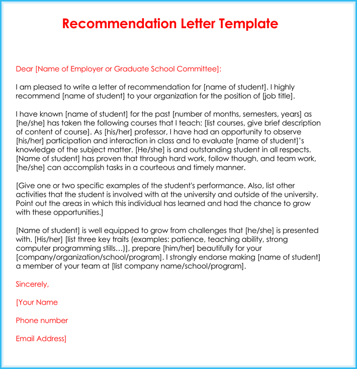 free teacher recommendation letter