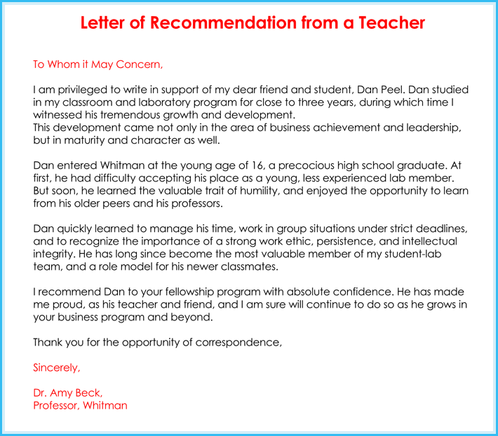 Sample Student Recommendation Letter From Teacher For College