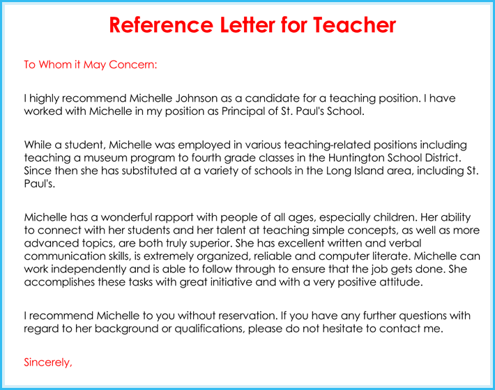 Printable Teacher Recommendation Letter