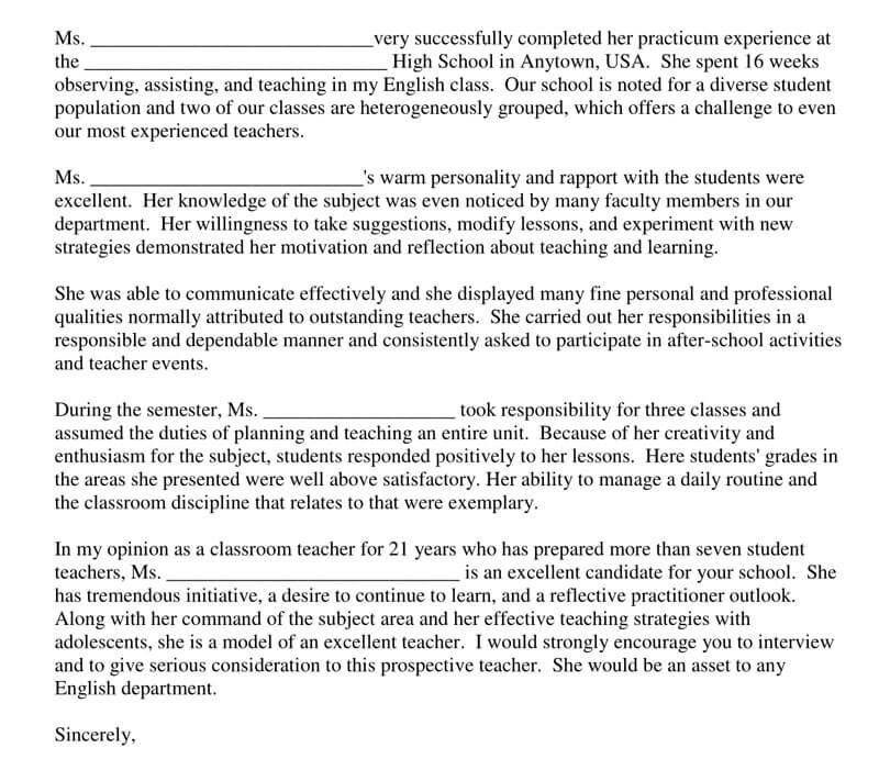teacher recommendation letter for high school student