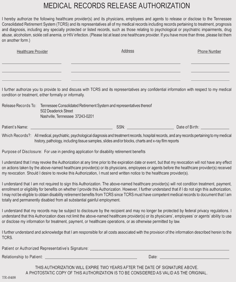 Tennessee Medical Records Release Form Format