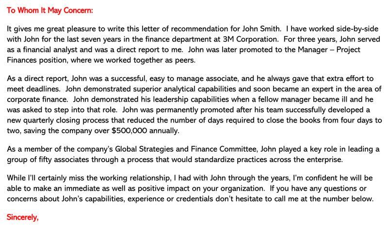 testimonial letter for employee