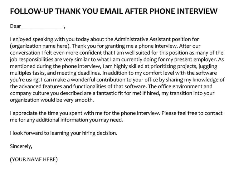 sample follow up email after phone interview