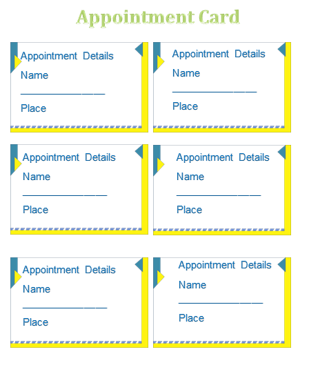 Appointment card template templates for microsoft word for Appointment cards templates free