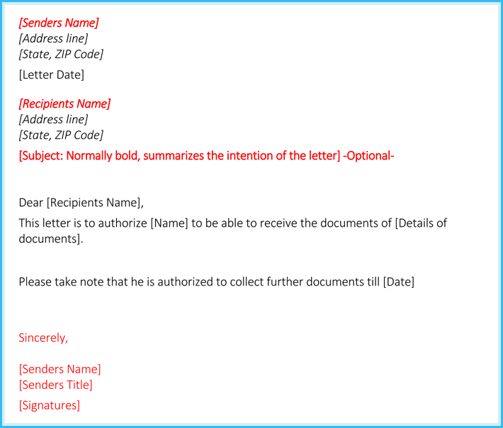 editable authorization letter to receive documents