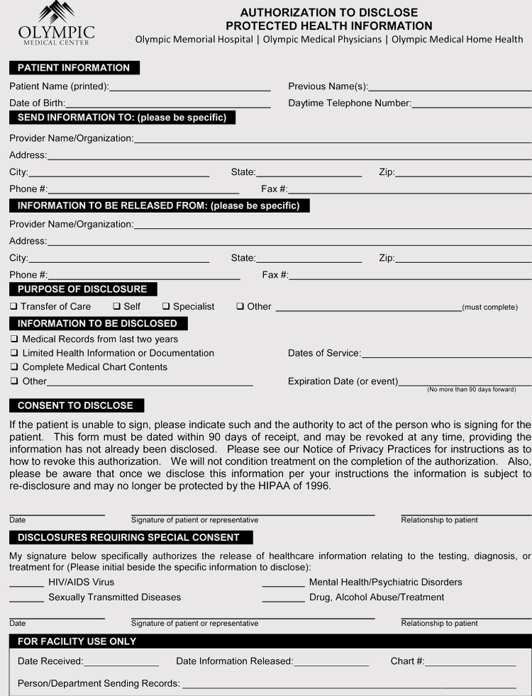 Sample of Washington Medical Records Release Form