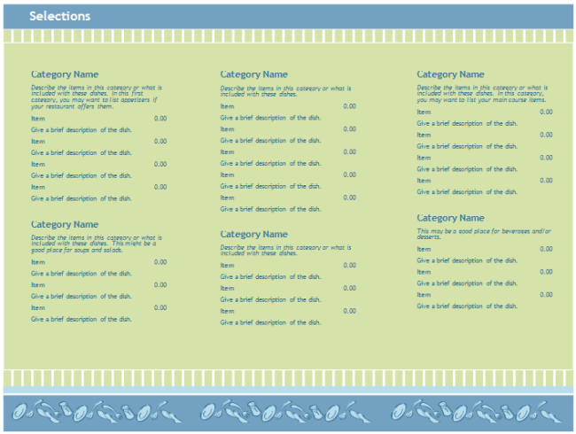 ... Weekly Food Menu Template  How To Make A Food Menu On Microsoft Word