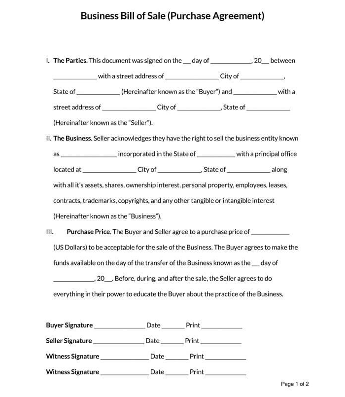 Business Bill of Sale Form 03