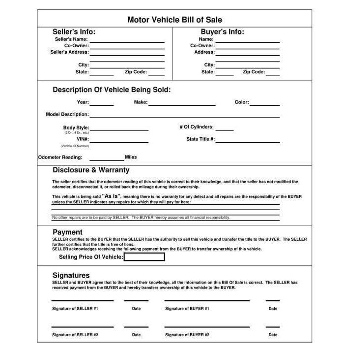 Business Bill of Sale Form 09