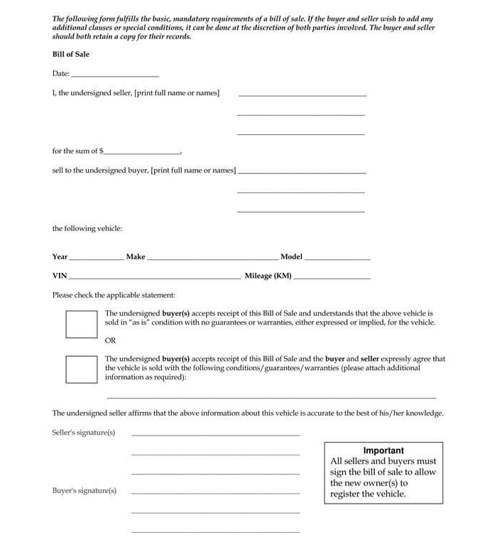 Business Bill of Sale Form 18
