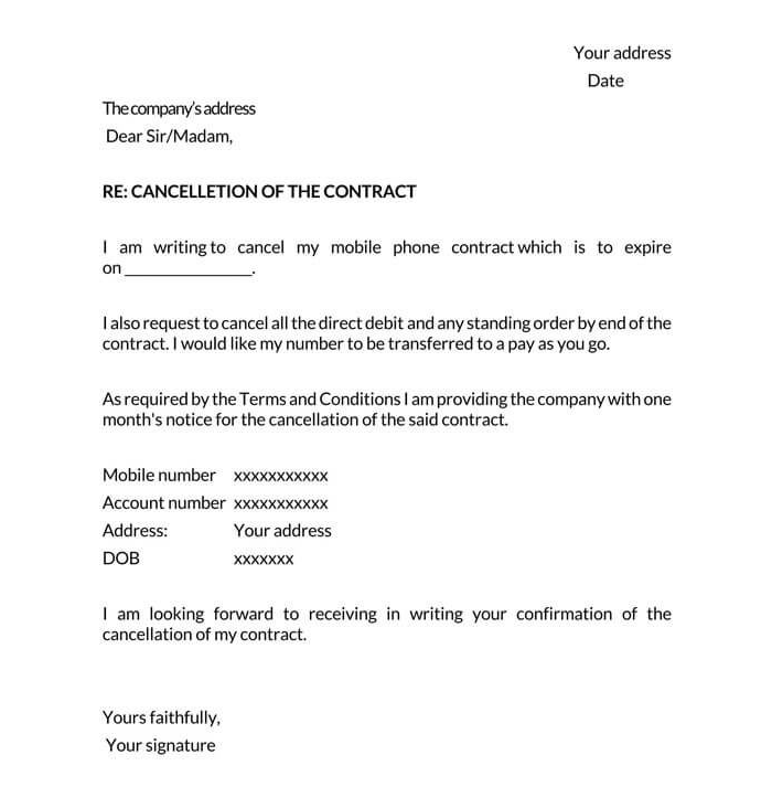 Cancellation of Contract