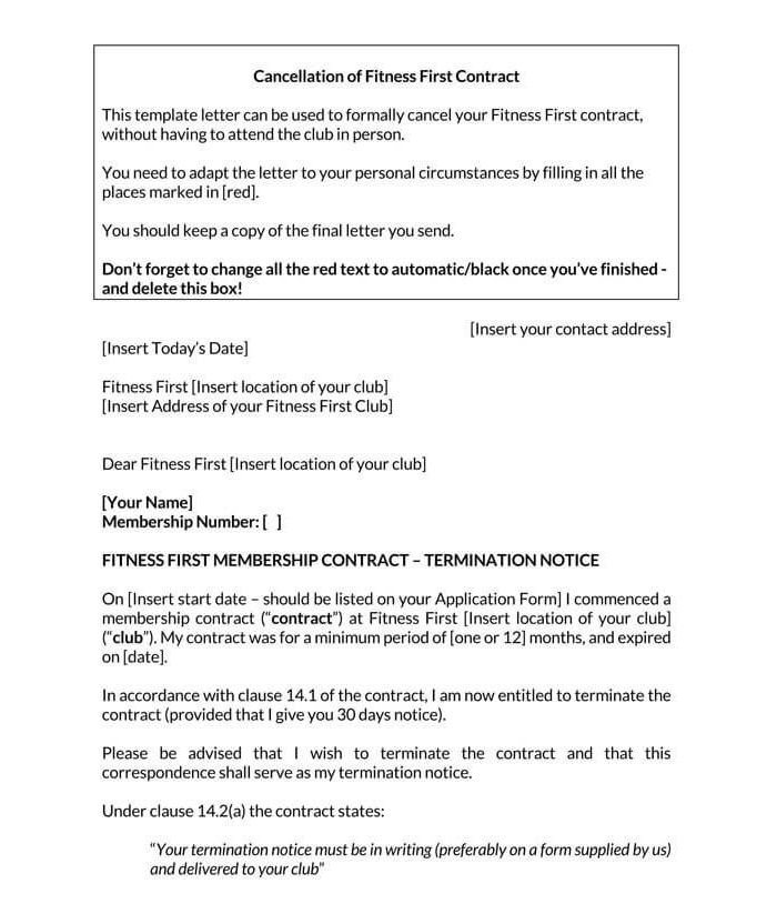 Cancellation of Fitness First Contract