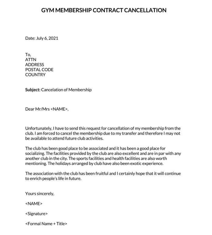 Gym Membership Contract Cancellation