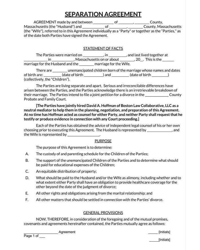 Marriage Separation Agreement 01