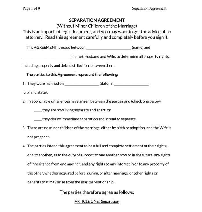 Marriage Separation Agreement 09